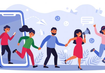 Customers earning money by giving likes, sharing information about referrals. People with thumbs up shouting at megaphone. Vector illustration for refer a friend, marketing, loyalty concept.